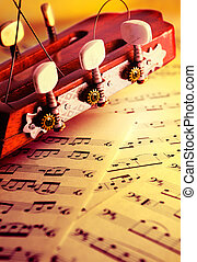 Classical musical background with acoustic guitar and music...