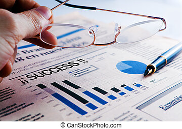Business success  with statistics and business man