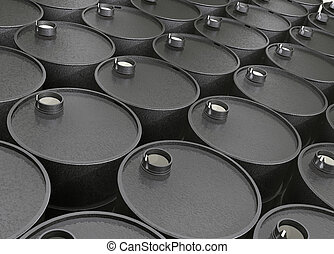 barrels of oil - Industrial illustration several barrels of...