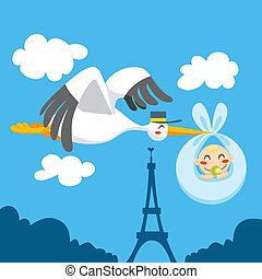 Newborn Delivery - Cute stork flying the skies over Eiffel...