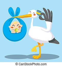 Baby Boy Delivery - Stork with hat carrying a newborn baby...