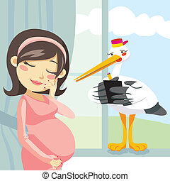 Thinking Pregnancy - Stork taking notes from a pregnant...