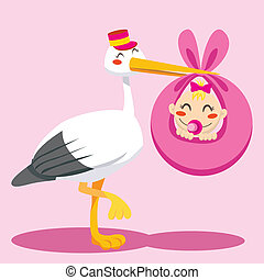 Baby Girl Delivery - Stork with hat carrying a newborn baby...