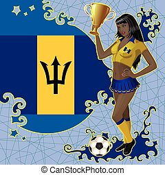 Barbados soccer poster with girl - Vector football poster...