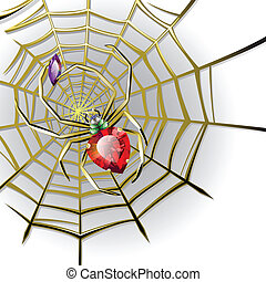 Jewelry spider on the gold web