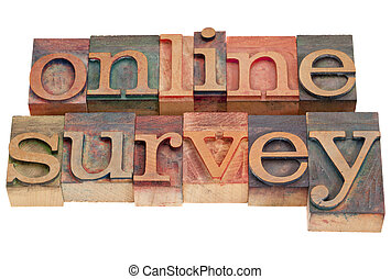 online survey - letterpress type - online survey words in...
