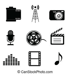 Mass media icons in black