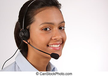 Customer service on the telephone - Smiling pretty telephone...