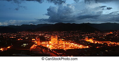 Night fall on Cusco, Peru - Photo of the Plaza de Armas...