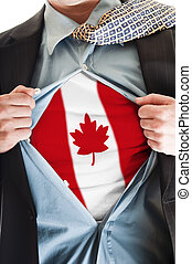 Canada flag on shirt - Business man showing Canada flag...
