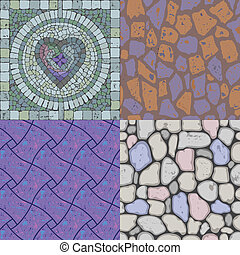 Vector set of floor stone textures - Vector set of different...