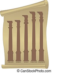 Silhouettes of antique columns - Vector silhouettes of...