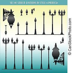 Set of street lanterns silhouettes