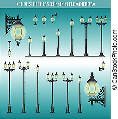 Vector set of Lanterns America - Vector set of isolated...