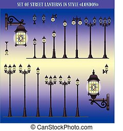 Street lanterns in style London - Vector set of isolated...