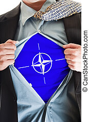 NATO flag on shirt - Business man showing  NATO flag shirt