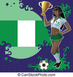 Nigerian soccer poster with girl - Vector football poster...