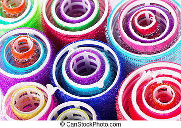Hair rollers - Closeup view of colorful hair rollers