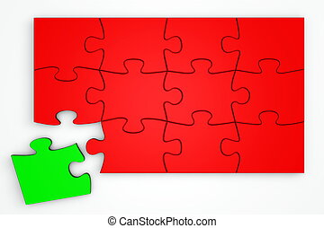 Red Puzzle from the Top - Green Piece Separate
