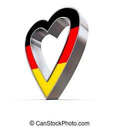 Shiny Metallic Heart - Flag of Germany
