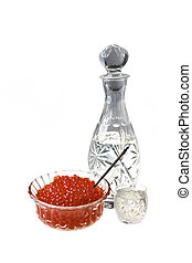 Crystal Decanter with vodka and capacity with red caviar