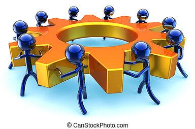 Teamwork progress concept