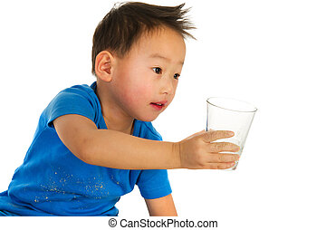 Chinese boy with drinking glass - Portrait of a Chinese boy...
