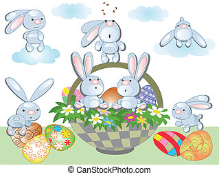 Easter basket and  rabbits