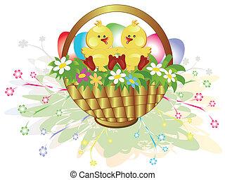 Easter basket,ducklings