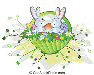 Easter basket,rabbits