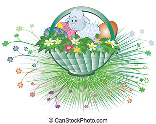 Easter basket with sheep