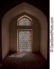 Alcove with stone screen in window at the Humayun tomb in...