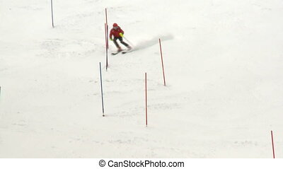 Junior ski racing - Junior ski racer training on slalom race...