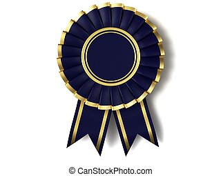 Dark blue ribbon award with a gold border on a white...