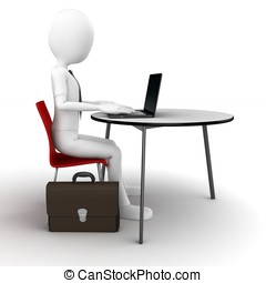 3d man sitting at the table and working on a laptop