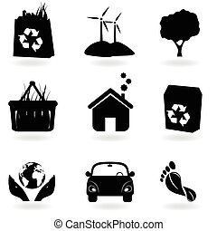Recycling and clean environment icons
