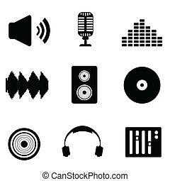 Audio, music and sound icons - Audio, music and sound icon...