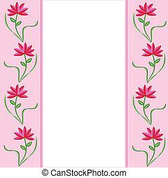 Flower Border Pink Red-2