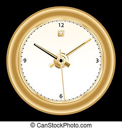 Clock, classic gold rimmed wall clock with golden colored...