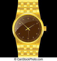 Gold wrist watch - Gold watch with gold wrist band, brown...