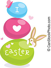Easter card with cute bunny and colored eggs