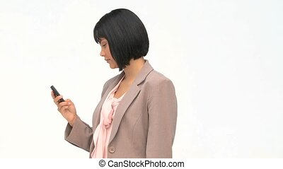 Asian business woman writing a text