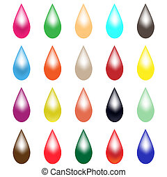 Set of Colored Raindrops - Vector - A set of twenty various...