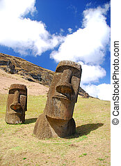 Moai on Easter Island Chile - Moai statues at Rano Raraku...