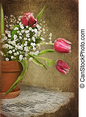 Textured Tulips - Tulip bouquet in pot with textured overlay...