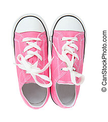 Sneakers (Tennis Shoes) over white - Pink Girls Sneakers...