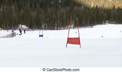Junior ski racing - Junior ski racer on Super G slalom race...