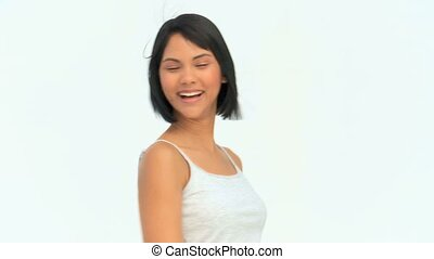Happy asian woman looking at the camera