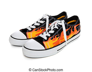 Flame Sneakers (Tennis Shoes) - Fire with Flame Sneakers...