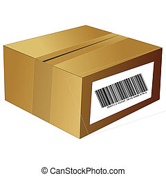 brown box with bar code